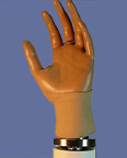 Hand prosthesis with MBI joint positioning technology.